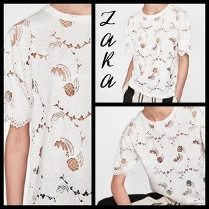 Zara NWT white oversized lace top - Size Small